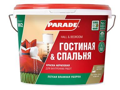 Краска PARADE W2 акрил белая матовая 2,5 л Гостиная&Спальня