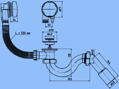 Перелив для ванны Ани ЕМ611 с сифоном автомат 520 мм