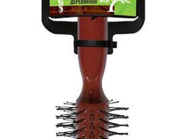 """Расческа деревянная брашинг D-50мм с пластиковыми зубчиками """"VORTEX"""""""