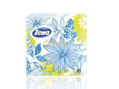 """Салфетки ZEWA"""" Голубые цветы""""33*33.20шт"""