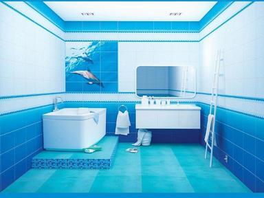 ПВХ панель  2700х375х8 Дельфины фон