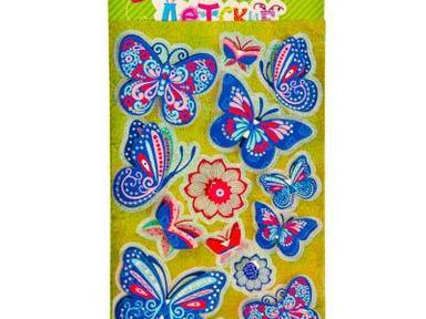 Наклейка детская Цветы и бабочки 21-11см