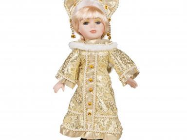 Снегурочка в золотом платье 30см