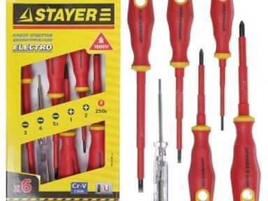 """Набор отверток Stayer """"тестер"""" 100-250в Cr-v"""