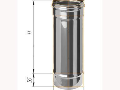 Дымоход ф130 L=0,25 м нерж. сталь 0,8 мм