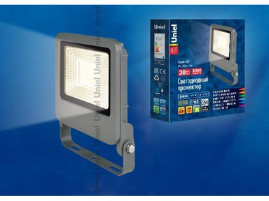 Прожектор светод-ный ULF-F17-30W/WW IP65 185-240B SILVER 3000К