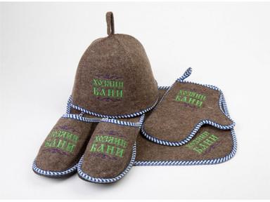 """Набор для бани""""Хозяин бани"""" войлок серый ( шапка, коврик, рукавица, тапки)"""