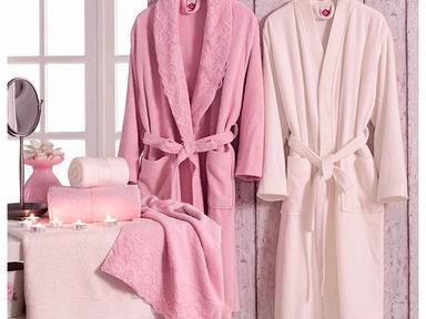 Набор банный халат+полотенце женский
