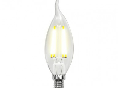 "Лампа светодиодная CW35-9W/3000K/E14/CL PLS02WH,""свеча на ветру"", прозрачная. Серия Sky."