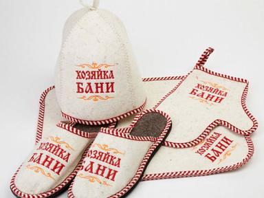 """Набор для бани""""Генерал"""" войлок белый (шапка,коврик,рукавица, тапки)"""