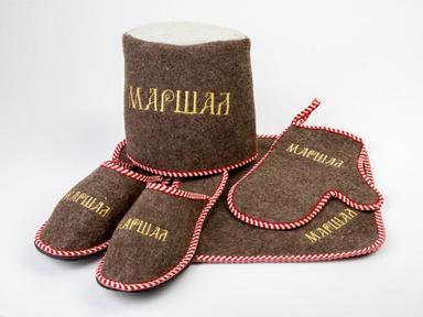 "Набор для бани""Маршал"" войлок серый (тапки,коврик,рукавица,шляпа)"