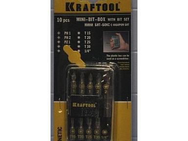 Набор биты KRAFTOOL с магнитным адаптером 10 предметов 26130-Н10 (Германия)
