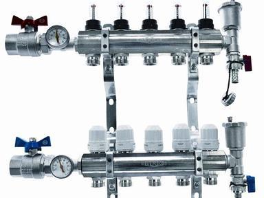 """Коллекторный блок 1"""" на 3 отв. 3/4"""" с термостат. вст.,расходомерами,кранами с термометрами Euros"""