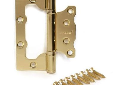 Петля неврезная универсальная 100х75 золото (уп.- 2 шт)