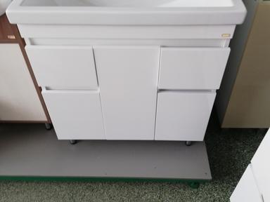 Тумба + раковина Фостер 80 см напольная белая 2 ящика