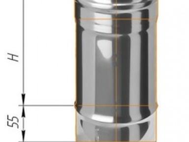 Дымоход ф100 L=0,25 м нерж. сталь 0,5 мм