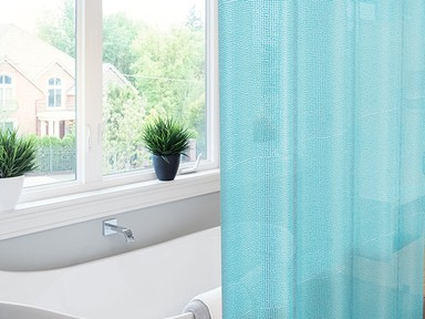 Штора для ванны 182*182 ПВХ Meiwa Pebbles синяя