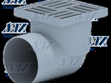 Трап ТА1112 горизонтальный,110 мм, с нержавеющей решеткой 15*15см
