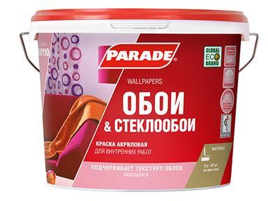 Краска PARADE W110 акрил белая д/обоев  матовая 9л база А