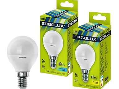 Лампа светод-ая Ergolux G45-7W-4500/Е14 шар 12144