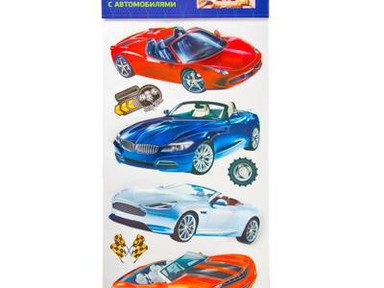 Наклейка интерьерная Автомобили ПВХ 54-24см