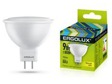 Лампа светод-ая Ergolux JCDR-9W-GU5.3-3000K.13624