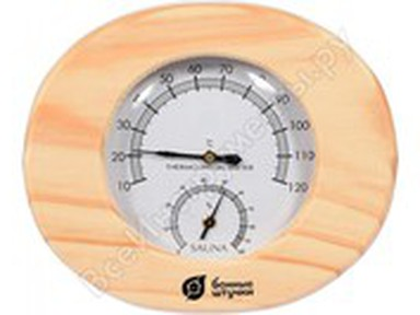 """Термогигрометр """"Овальный в дер.корпусе"""" 16х14х3см"""