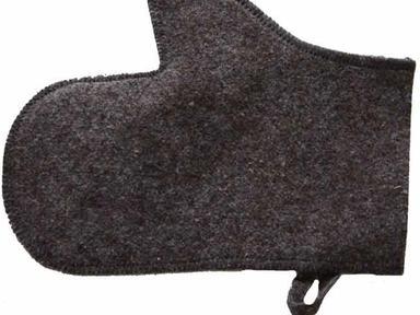Рукавица для сауны войлок серый
