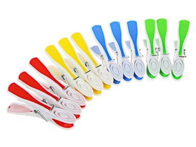Набор цветных прищепок 12шт,пластик,с силикон.держателями