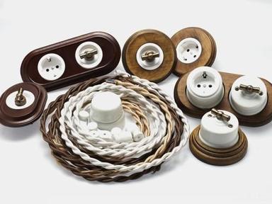 Ретро провода, розетки, выключатели форфоровые