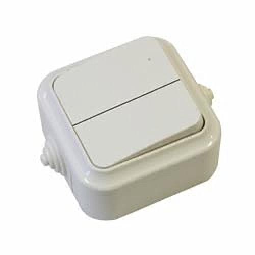 Выключатель 2 кл о/у (А56-224) белый,серый,влагозащ.