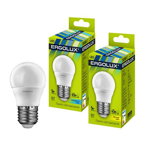 Лампа светод-ая Ergolux G45-7W-4500/Е27 шар 12145