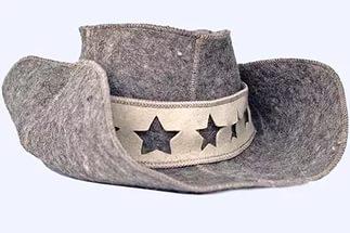 Набор войлок серый БАТЯ (шапка,коврик,рукавица, тапки)