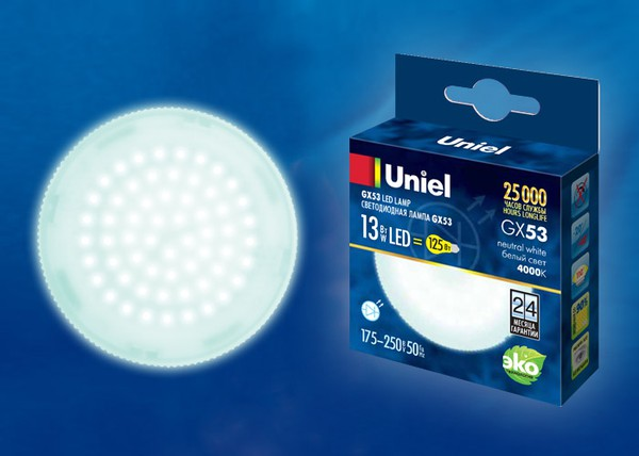 Лампа светодиодная LED-GX53-13W/WW/GX53/FR PLZ01WH