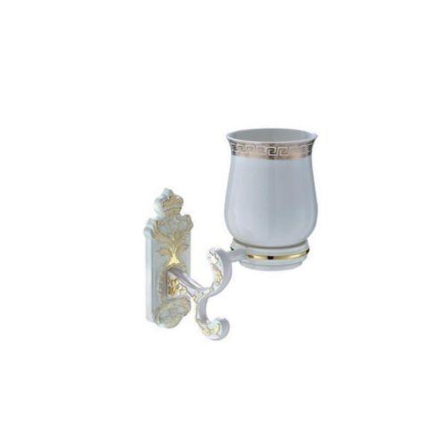3506 G Стакан с держателем белый/золото