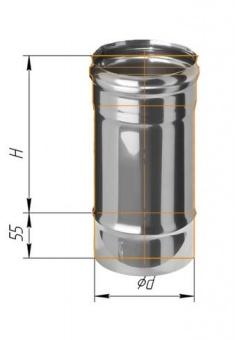 Дымоход ф200 L=0,25 м нерж. сталь 0,8 мм