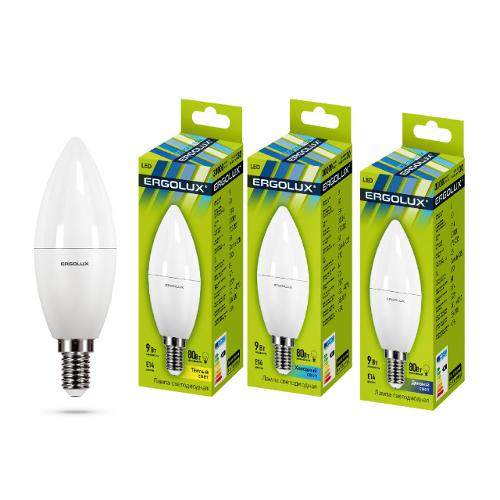Лампа светод-ая Ergolux С35-9W-3000/Е14 свеча 13167