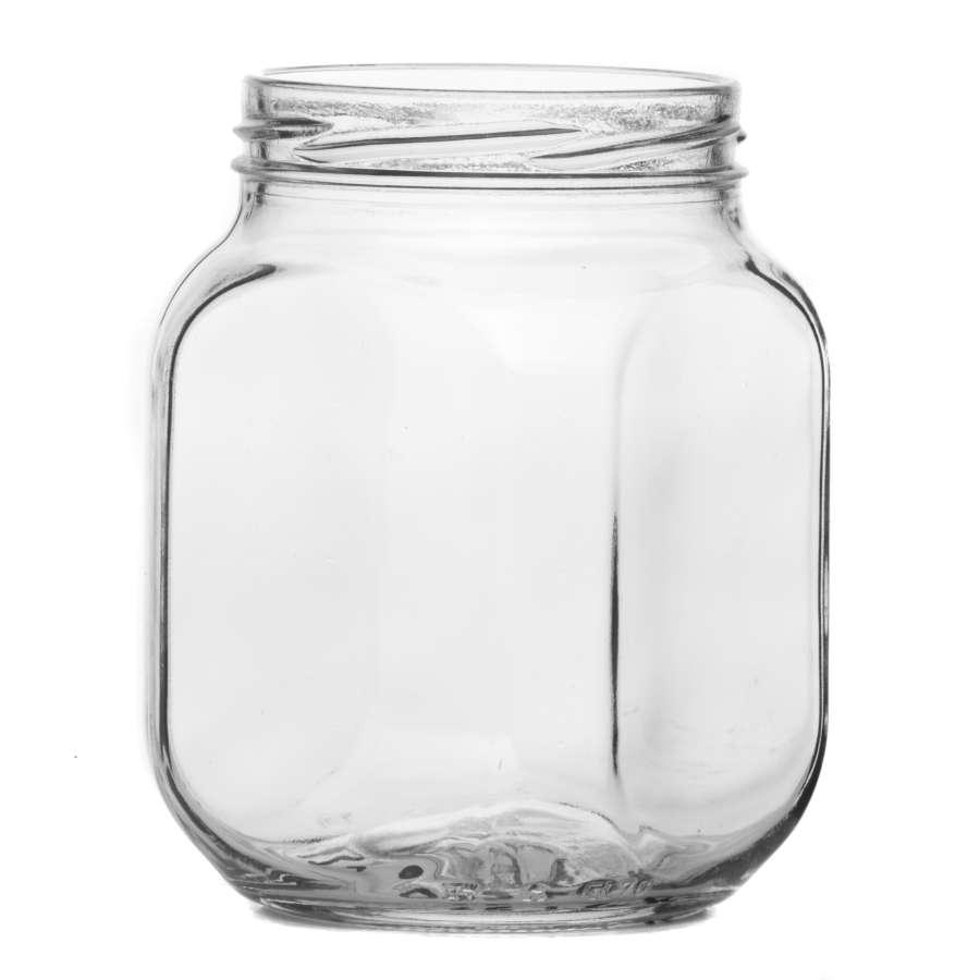 Банка стеклянная с резьбой кубик 0,65л