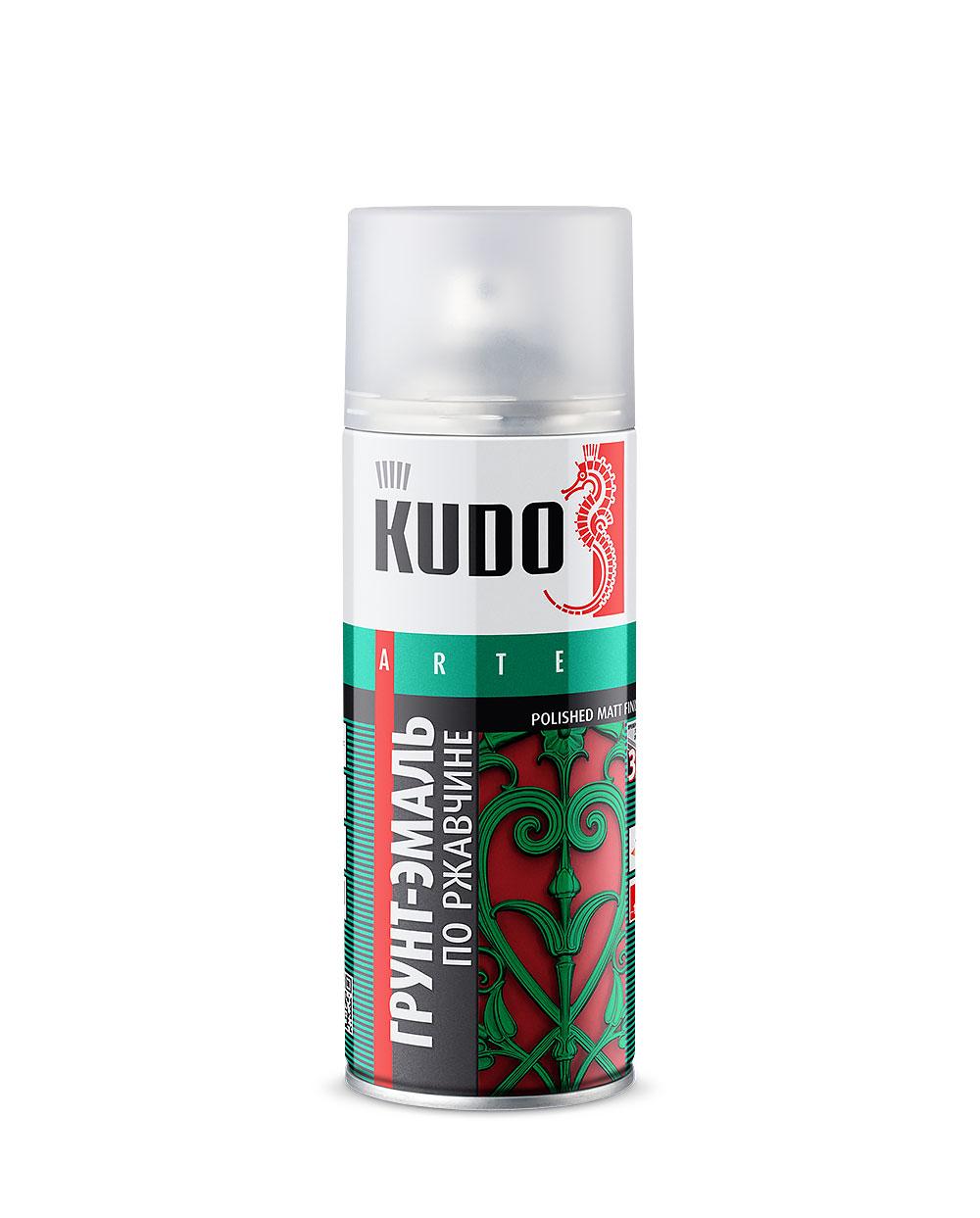Грунт-эмаль по ржавчине KUDO аэрозол. черная 520мл RAL9005