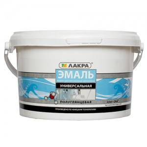 Эмаль акриловая 0,9 кг Лакра белая п/глянцевая