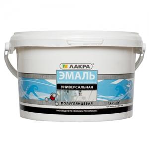 Эмаль акриловая 2,4 кг Лакра белая п/глянцевая