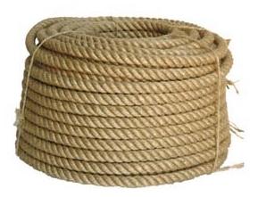 Веревка джут ф 8 мм, крученая 3-прядная