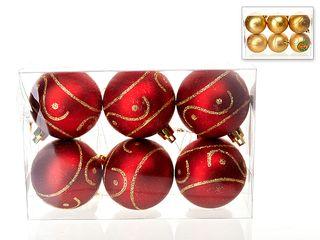 Набор шаров 6шт,6см/золото/красный/372-283