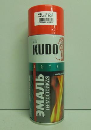 Краска аэрозоль KUDO 520мл красная термостойкая