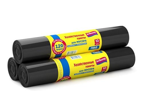 Мешки для мусора 120л черные АВИКОМП (упаковка-10шт.)