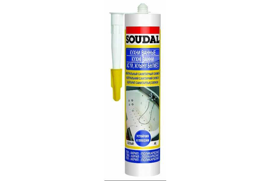 Герметик Соудал силикон санитарный нейтральный белый300мл