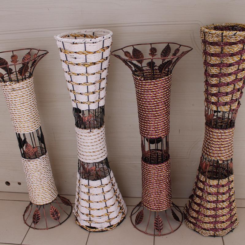 Ваза напольная плетённая декор
