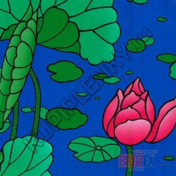 Пленка с/к 0,45м*8м 6001В D&B витр цвт лилии роз на синем