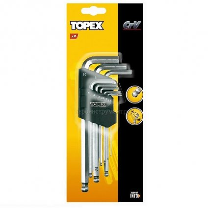 Набор ключи шестигранные 9шт.TOPEX