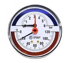Термоманометр аксиальный ф80 мм, 0-6 бар, 0-120